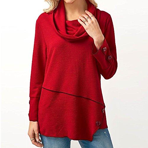 BHYDRY Frauen Button Unregelmäßige Lose Langarm T-Shirt Rollkragen Pullover Bluse Tops(EU-42/CN-M,rot)