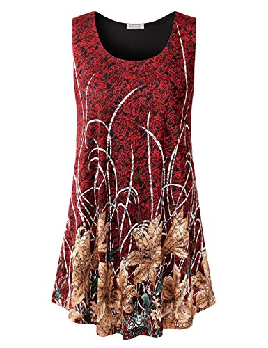 BaiShengGT Women's Round Neck Sleeveless Lace Floral Print Tunic Flared Tops