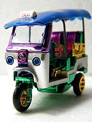 New Mini 3 Wheels Tuk Tuk Taxi Car Toy Souvenir Collectible Blue Roof by No Brand