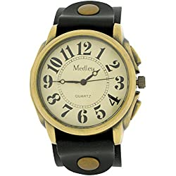 Medley Gents Analogue Beige Dial Wide Black Leather Cuff Strap Watch MED20