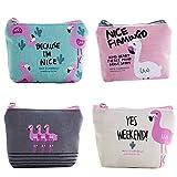 TININNA Set di 4 Carino Pattern flamingo Tela Moneta Porta Borsa Portafoglio Portafoglio Cassa Piccolo Portafoglio con Cerniera