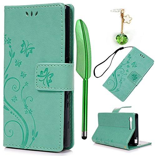 YOKIRIN Sony Xperia X Compact Lederhülle Hülle Case für Sony Xperia XCompact Flipcase Tasche Handyhülle Etui Schmetterling Muster PU Leder Schutzhülle Kartenfächer Magnetverschluss Cover Minzgrün