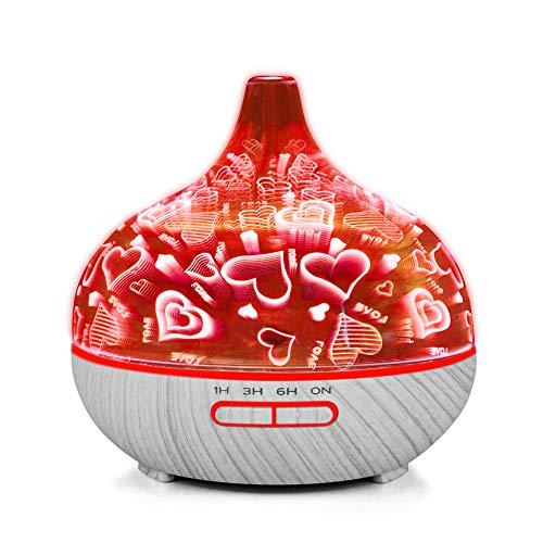 Ultraschall Bunte Nachtlicht 3D Glas Herz Rentier Feuerwerk Muster Stumm Aroma Diffusor 400 ml Luftbefeuchter für Dekoration,Heartpattern -