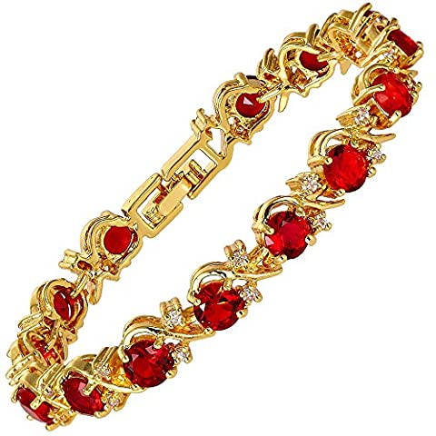 Jewellery Round Cut Red Ruby Gemstones Fine CZ 18K Yellow gold Plated [18cm/7inch] Tennis Bracelet Simple Modern Elegance Prong Setting [Free Jewelry Pouch]