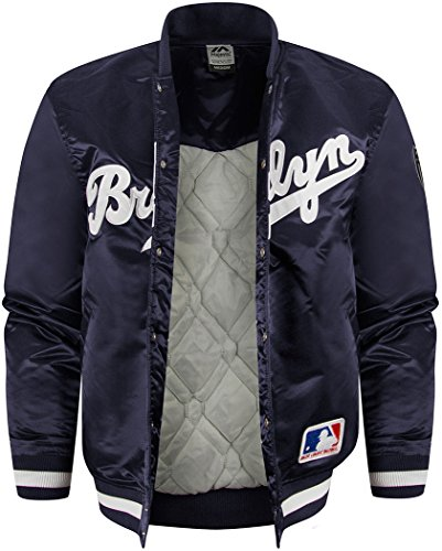 Veste Majestic: Keosian Satin Jacket Brooklyn Dodgers BL Bleu - Bleu marine