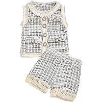 Tianhaok 2pcs / Lot Kids Baby Girl Retro Plaid Outfits Suit sin Mangas Top Jacket Coat + Shorts