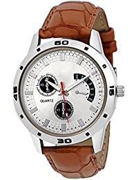 Swadesi Stuff Silver Dial Brown Leather Strap Stylish Analog Watch For Men & Boys 9009