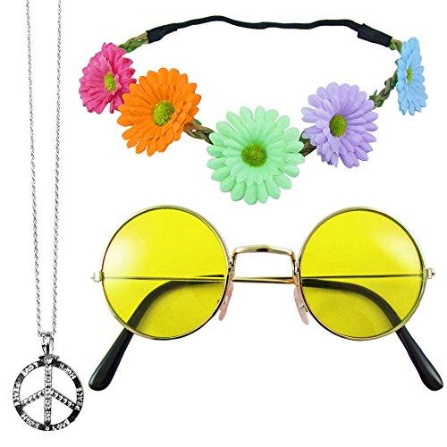 Margeriten Haarband, Peace Kette und Lennon Brille - Gelb (Hippie Peace Zeichen)