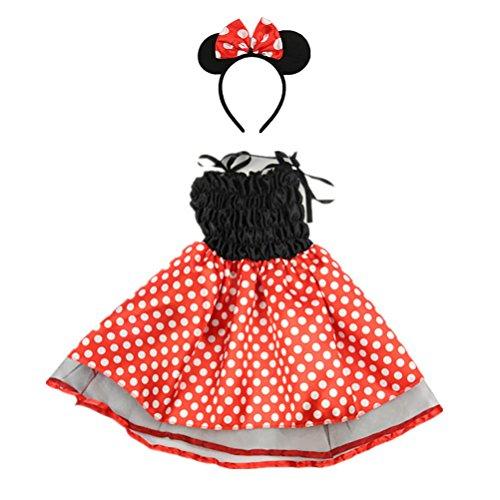 Mädchen Polka Dots Party Kostüme Prinzessin Kostüm Outfits mit Maus Ohren Stirnband (Niedliche Mäuse Kostüme)