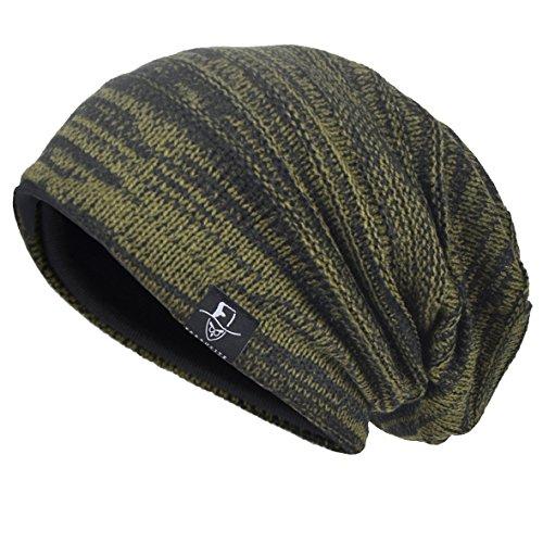 VECRY Herren Slouchy Stricken Übergroße Beanie Skull Caps Künstlerische Hüte (Grün) -