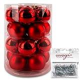 IngeGlas 20 Christbaumkugeln aus Glas - Durchmesser Ø 6,0 cm - Weihnachtskugeln für Tannenbaum - inkl. 100 Aufhänger (Rot Glanz/Matt)