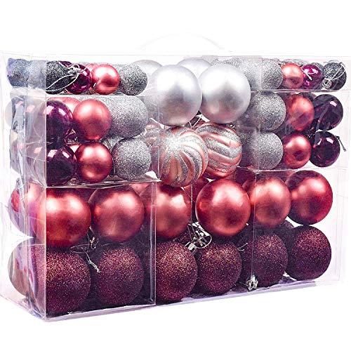 Victor's workshop 100 pezzi palline di natale, decorazioni natalizie per alberi di natale in plastica decorazioni (rosa-viola)