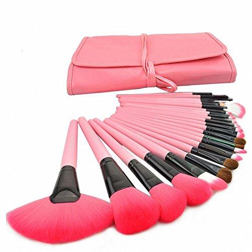 Fashion Base Lot de 24 pinceaux de maquillage professionnel Ombre à paupières Pinceau à poudre Kit avec étui Rose
