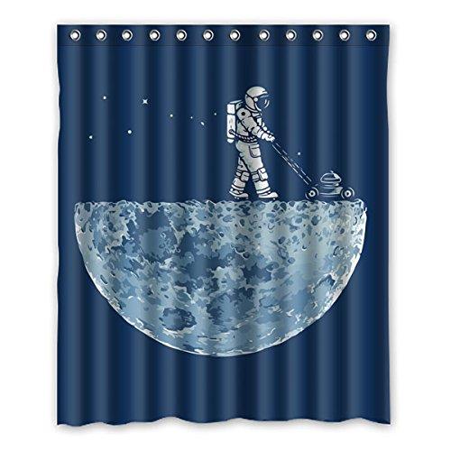 """Il grande dell' universo. Astronauti camminare sulla superficie della luna esplorare il mistero della luna. Sfondo è il colore di denim design poliestere tessuti impermeabile bagno doccia tenda 152,4x 182,9cm (150x 183cm), Poliestere, A, 60"""" x 72"""""""