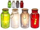 Deko Glas beleuchtet Weihnachten in grün | mit LED Lichterkette warmweiß innen mit je 5 LED | mit Juteband zum Aufhängen | wunderschöne Deko aus satiniertem Glas (grün)