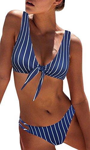Blooming Jelly Damen Blau Weiß gestreift Bikini Einstellen-Sexy Triangel Gepolstert Cut Out Badeanzug für Frauen