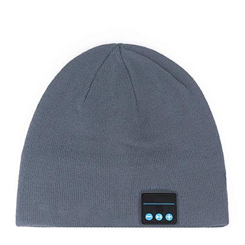 ZXWNB Smart Hd-klangqualität Drahtlose Bluetooth-Kappe, Einfarbige, Warme Und Bequeme Strickmütze, Perfekter Urinal-Headset-musikplayer,Gray