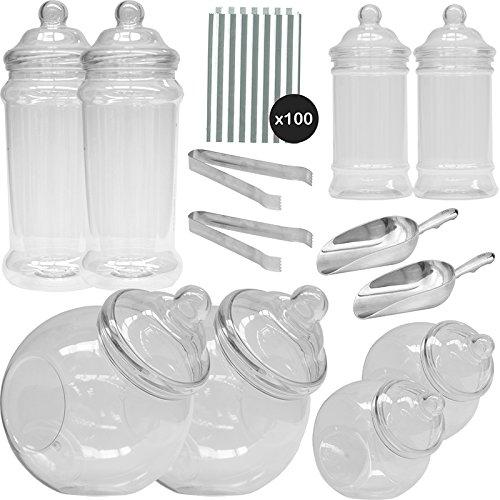 1387/5000 Vintage Viktorianische Pick & Mix Polka Dot Süßigkeiten Buffet Kit - 8 Plastikbehälter & 100 Silber Beutel (8 Beutel-kit)