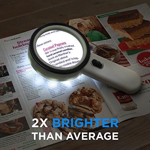 Fancii 5 Fach Vergrößerungsglas LED Handlupe mit Licht, große 90mm verzerrungsfreier beleuchtet Lupe mit Glas Objektiv - 6
