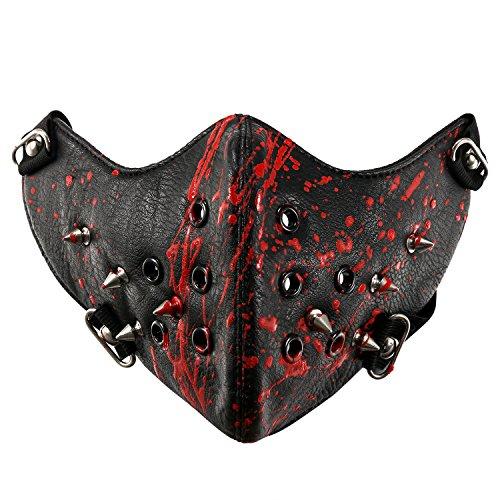 JewelryWe Schmuck Gothic Punk Motorrad Maske Sturmmaske Skimaske Tarnmaske Half Face Gesicht Maske - Spike Spitze Nieten Schwarz ()
