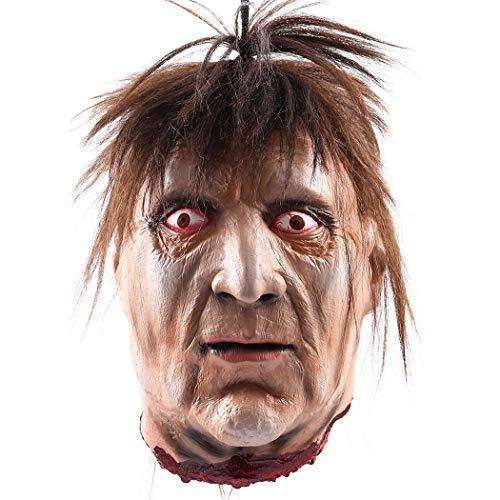 Moneil Halloween Props effrayant à suspendre Décorations de Severed Head, taille réelle Bloody coupées Cadavre Tête fantôme animé Zombie Tête pour hantée maisons fête Décor Funny Festive Fournitures Horror Head Se
