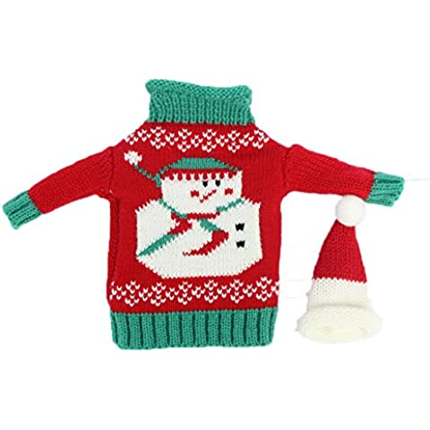 Natale Babbo Natale Bottiglia Di Vino, Borsa per tavolo decorazioni Natale cena Decor (pupazzo di neve)