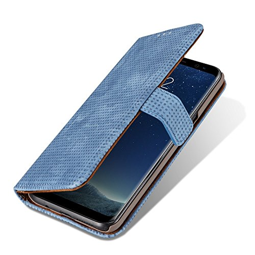 Retro Matte Breatheable Air-Mesh PU-Leder Folio Stand Brieftasche Case Cover mit Kickstand Card Slots für Samsung Galaxy Note 8 ( Color : Red ) Blue
