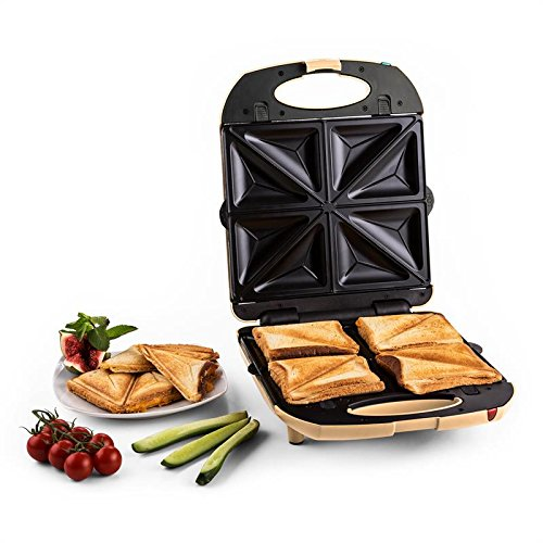 Klarstein trinity 3 in 1 griglia per sandwich, tostapane elettrico per toast e waffle (1300w, tostiera con 4 piastre riscaldanti extralarge antiaderenti, raccogli grassi, spia ready-to-use) - crema