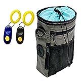 WEIJIGUOJI Futterbeutel für Hunde Tragbare Abnehmbare Hundetraining Tasche Behandeln Beutel mit 2 Clickers (Grau-Blau)