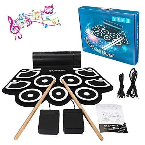 E-Drum Set, LUXACURY 9 Pads Elektrische Drums Kit Electric Roll up Drum Pad Kit Electronic Drums Set, tragbare Praxis Elektronische Drumset mit Lautsprecher, Crash Becken