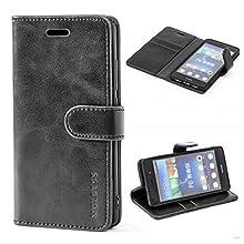 Mulbess Custodia per Huawei P8 Lite, Cover Huawei P8 Lite Pelle, Flip Cover a Libro, Custodia Portafoglio per Huawei P8 Lite 2015, Nero