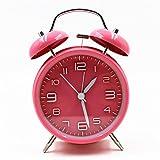 Reloj Hemara, silencioso, sin tic-tac, de cuarzo, analógico, diseño retro, vintage, alarma de doble campana, reloj con alarma alto y retroiluminación