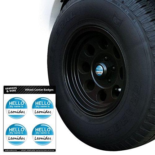 leonidas-hello-my-name-is-tire-wheel-center-cap-resin-topped-badges-stickers-22-56cm-diameter