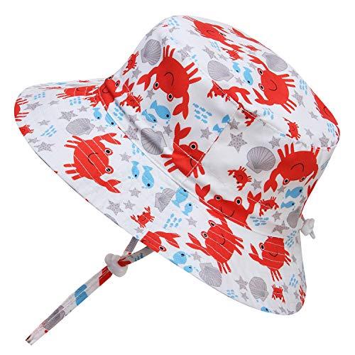 Adorel cappelli da sole mare anti-uv per neonati e bambini granchio 2-4 anni (dimensioni del produttore: 52)