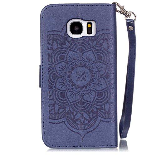 Hülle für Samsung Galaxy S7 Edge Schmetterling,TOCASO Glitter Strass Bling Ledertasche Muster Weich PU Schutzhülle für Samsung Galaxy S7 Edge Flip Cover Wallet Case Tasche Handyhülle mit Lanyard Strap #23#
