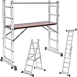 TecTake Multipropósito Escalera combinación de aluminio y andamio plataforma de trabajo