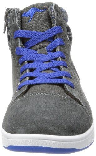 KangaROOS Gildo, High-top mixte enfant Gris - Grau (dark grey/royal blue)