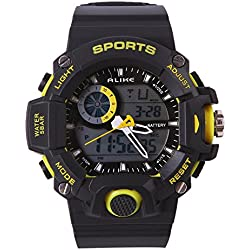 BSFY Digital Waterproof LED Alarm Multifunction Men Quartz Analog Sport Wrist Watch