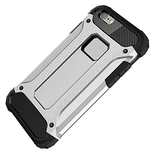 iPhone SE Hülle, HICASER Hybrid Dual Layer Rugged Heavy Duty Defender Case [Shock Proof] Drop Resistance TPU +PC Handytasche Schutzhülle für Apple iPhone SE / 5S / 5 Silber Silber