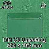 50x original ARTOZ DIN C5 Umschläge - 100 g/m² // SERIE 1001 // in Geschenkbox! // Tannengrün, Haftklebung // 229 x 162 mm