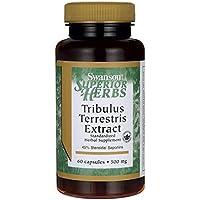 Swanson Superior Herbs, Extrait de Tribulus Terrestris 500mg, 60 gélules - Normalisé à 45% de Saponines Stéroïdiennes...
