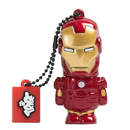 Tribe FD016504 Disney Marvel The Avengers Pendrive 16 GB Simpatiche Chiavette USB Flash Drive 2.0 Memory Stick Archiviazione Dati, Portachiavi, Iron Man, Rosso