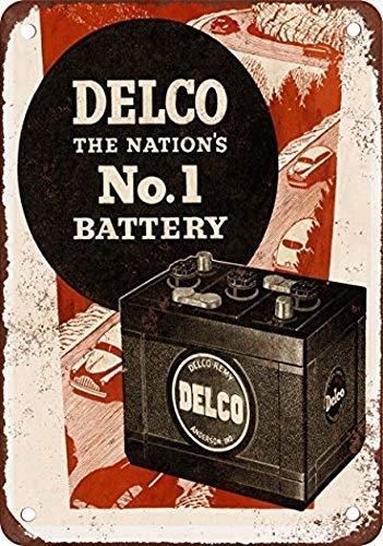 Cecilia Keppel Insegna murale Arredamento Vintage 20CM x 30CM 1950 Delco Batteries Manifesto di Piastra Metallica della Decorazione della Parete del caffè della Cucina Domestica JM-0290