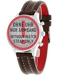 Detomaso FIRENZE 20mm Relojes de pulsera Marrón Piel hebilla de acero inoxidable Nuevo