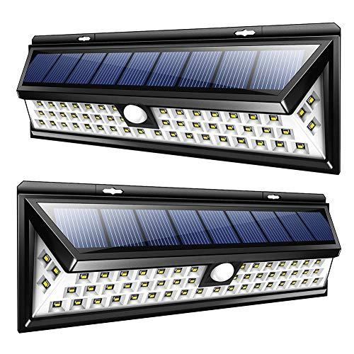 GYFHMY 2er Pack Upgraded 54LED Solar Wandleuchten, Bewegungsmelder 3 Modi 270 Grad Weitwinkelbeleuchtung, wasserdichte Beleuchtung für den Außenbereich Gartenzaun -