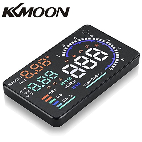 """KKmoon Car HUD 5.5"""" Large Screen Auto Car HUD Head Up Display KM/h & MPH Speeding Warning Windshield Project System with OBD2 Interface Plug & Play"""