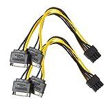 Wokee 2PC 15Pin SATA Stecker auf 8pin (6 + 2) PCI-E männlich Grafikkarte Netzteil Kabel