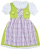 Schrammel Kinderdirndl Grün Mit Baumwollschürze Lila Karo (122-128, Grün-Lila)
