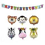AerWo 6pcs de 22Inch Safari Animal Balloons Decoraciones de cumpleaños para niños con Animal Happy Birthday Banner (78inch / 2m) Banner de decoración de cumpleaños, Suministros de fiesta de la selva y Decoraciones de Baby Shower