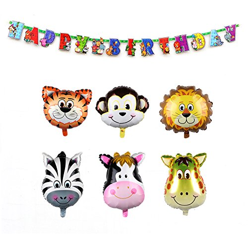 ll Safari Tierballons Geburtstag Dekorationen für Kinder mit Tier alles Gute zum Geburtstag Banner (78Zoll / 2 m) Geburtstag Dekoration Banner, Jungle Party Supplies und Baby Shower Dekorationen (Safari Luftballons Für Baby-dusche)